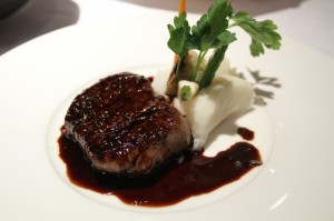 Pepper-Crusted Fillet with Port-Cherry Reduction and Blue Cheese-Chive Butter