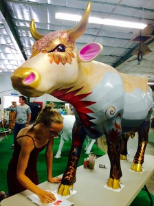 Michelle Watson worked non-stop on her masterpiece during the Mid-State Fair launch.